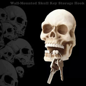 💥 Skull Sculpture Key Storage Hook Wall Mount Resin Skeleton Desk Ornamen US💥