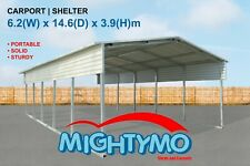 Mightymo Large Steel Double Portable Yard Backyard Carport Shelter (NZ7X9CV-39/3)
