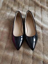 Tamaño 1 Negro Zapatos Planos Puntiagudos patente