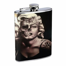 Sugar Skull D12 8oz Hip Flask Stainless Steel Day of the Dead Los Muertos Art