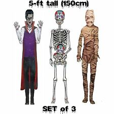 5ft Jointed Cutouts MUMMY-VAMPIRE-SKELETON Halloween Party Decorations- 3-pc SET