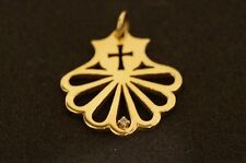 "James Avery Cross Fanned Pendant with Diamond 14K Yellow Gold 7/8"" Inches"