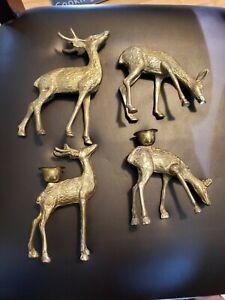 Vintage Brass Deer Candle Holders Reindeer Christmas Cabin Rustic Figurines