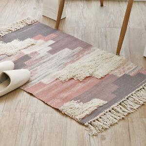 Grey Pink Blue Rug Mat Hand Tufted High Low Textured Carpet Mat Braid Beautiful