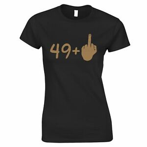 Rude 50th Birthday Womens TShirt Tanned Middle Finger Swearing Gift Idea
