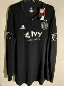 ADIDAS AUTHENTIC MLS KANSAS CITY SPORTING LONG SLEEVE TEAM JERSEY BLACK SIZE L