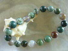 8 mm Indischer Achat Multicolor Armband/Armkette Bracelet m.Stretchband 19,3 cm
