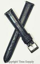 14 mm NAVY BLUE LEATHER WATCH BAND CROCO WITH PINS