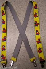"""Suspenders Children 1""""x30"""" FULLY Elastic Rubber Duckies NEW Red on Yellow"""