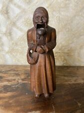 ANTIQUE VINTAGE WOODEN WOOD FIGURAL NUTCRACKER  OLD LADY WOMAN HAND CARVED RARE