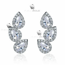 18k white gold gf clear crystal tear rain drop wedding party stud earrings S925