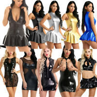 Plus Women Ladies PU Leather Bodycon Short Mini Pencil Dress Wet Look Clubwear