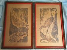 Roslyn Strong Numbered Woodcuts Ibis, Curlew Framed and Matted Harris G. Strong