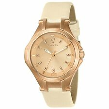 Invicta 23254 Womens Gabrielle Union Rose Gold Dial Beige Leather Diamond Watch