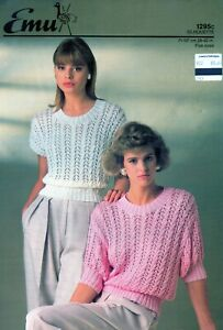 """~ Emu Knitting Pattern For Lady's Two Pretty Lacy Tops ~ 28"""" ~ 42"""" ~"""
