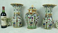 Petrus Regout Maastrich delft polychrome floral pottery Vases Set