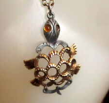 """Vintage 70s 24"""" GROOVY GOLDTONE HIPPY Jointed Turtle Chain Necklace"""