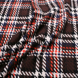 Boucle fabric - Wool blend - Check design - Brown, navy, orange, off white