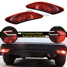 2x Red 3D Optic LED Bumper Reflector Brake Lights For 2015 2016 Honda HR-V Vezel