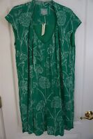 Maeve Anthropologie Cap Sleeve Pleated Front Tunic Dress Green White Size 16 New