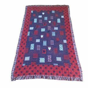 Throw Blanket Red White Blue Stars Hearts Reversible Fringe 42x67