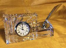 WATERFORD Crystal Glass Desk Clock (Works!) / Pen Holder Paperweight - Ireland