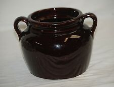 Old Vintage Antique Stoneware Dark Brown Crock w Two Handles Stamped USA