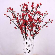 50PCS Christmas Red Berry Pick Holly Branch Wreath Xmas Tree Decoration Craft CA