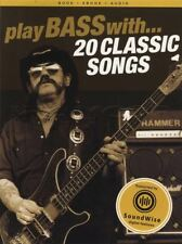 Play Bass with 20 Classic Songs TAB Music Book with Audio Rock Motorhead AC/DC
