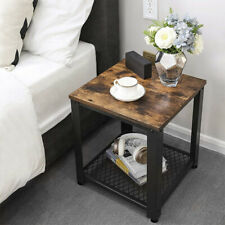 Industrial End Tables w/Storage Shelf Rustic Side Table for Living Room Bedroom