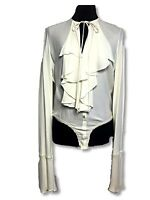 Donna Karan New York DKNY Vintage 90s Ruffle Bell Sleeve Bodysuit Top Blouse M