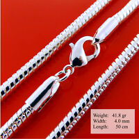 Necklace Pendant Chain Genuine Real 925 Sterling Silver S/F Fine Snake Design