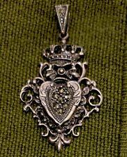 Vintage Sterling Silver Crown & Heart Pendant Charm