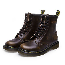 Women's Martin Combat Boots Lace-Up Casual Antiskid Leather Round Toe Low Heel