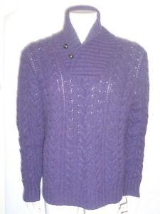 Men's Polo Ralph Lauren Cable Knit Purple Cowl Neck Sweater Sz Large Retail $495