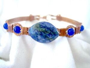 "Lg Size- Blue Jungle Jasper Beaded Copper  Wire Wrapped Bracelet 9-1/2"" to 10"""