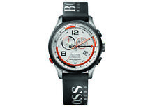 Hugo Boss Regatta Chronograph Silver Dial Black Rubber Mens Watch 1512501