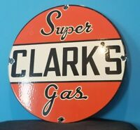 VINTAGE CLARK GASOLINE PORCELAIN SUPER SERVICE STATION GAS OIL PUMP PLATE SIGN