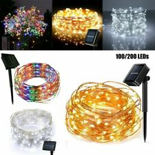 10M/20M LED Solar String Lights Copper Wire Fairy Lamp Waterproof Xmas Party USA