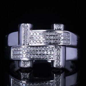 SOLID 10K WHITE GOLD MEN'S PAVE DIAMONDS ENGAGEMENT BAND WEDDING GENEROUS RING