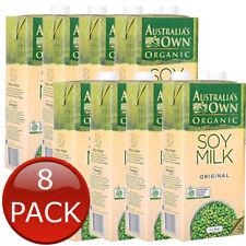 8 x AUSTRALIA'S OWN ORGANIC SOY MILK ORIGINAL ADULT FAMILY LACTOSE FREE BULK 1L