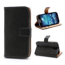 Samsung Galaxy S4 I9500 I9505 I9515 Handy Tasche Magnet Echt Leder Hülle Schwarz