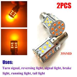 BAU15S 35W High Power Amber 35SMD LED Turn Signal Brake Tail Light Bulbs 2 Pack