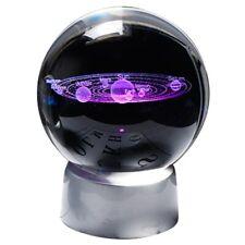 Crystal Ball Planet 3d Solar System Model Global Glass With LED Base Home D O8v4