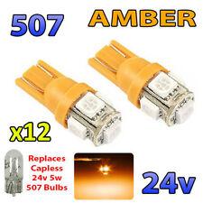 12 x AMBER 24v Capless Side Light 507 501 W5W 5 SMD T10 Wedge Bulbs HGV Truck