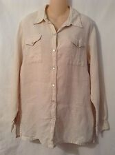 Lino By Chico's Beige 100% Linen Button Front Top Size 1 Medium