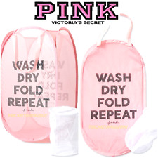 Victoria's Secret PINK Wash Dry Fold Repeat LAUNDRY BASKET + INTIMATES WASH BAG