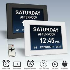 Digital Calendar Day Clock Large Letter LED Dementia Alarm Time Date Month Year