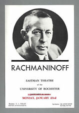 Pianist SERGEI RACHMANINOFF Rochester, New York 1939 Concert Recital Flyer