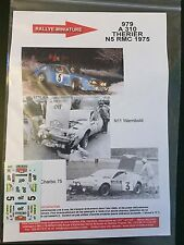 DECALS 1/43 ALPINE RENAULT A310 THERIER RALLYE MONTE CARLO 1975 WRC RALLY